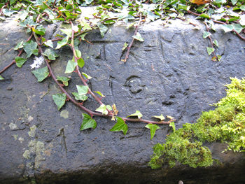Initials carved on stone, Birdsall