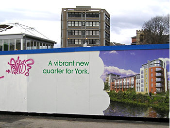 Hoardings in the Hungate development