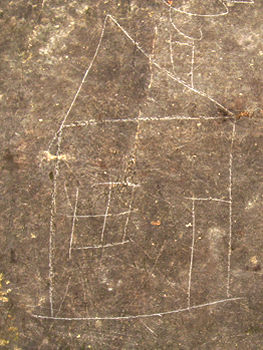 Child's drawing of a house, scratched into stone, York