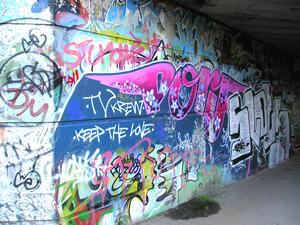 Cycle track graffiti, November 2004