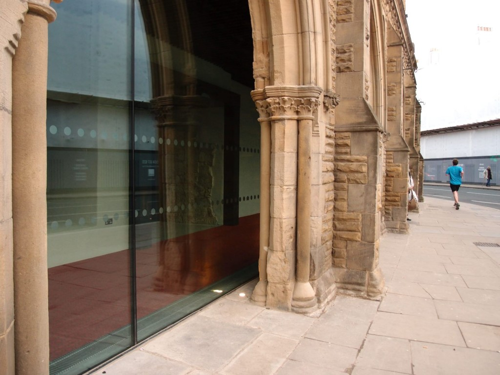 Once open to all: the glazed colonnade at the front of the refurbished Theatre Royal, April 2016