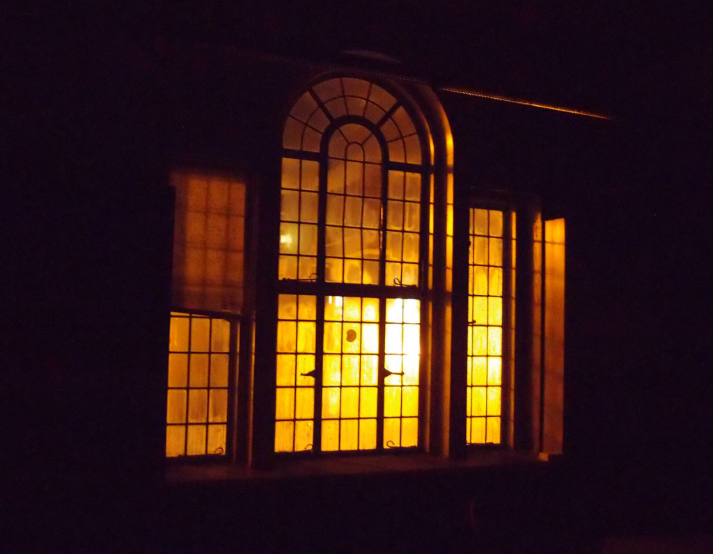 Handsome leaded window, lit from outside