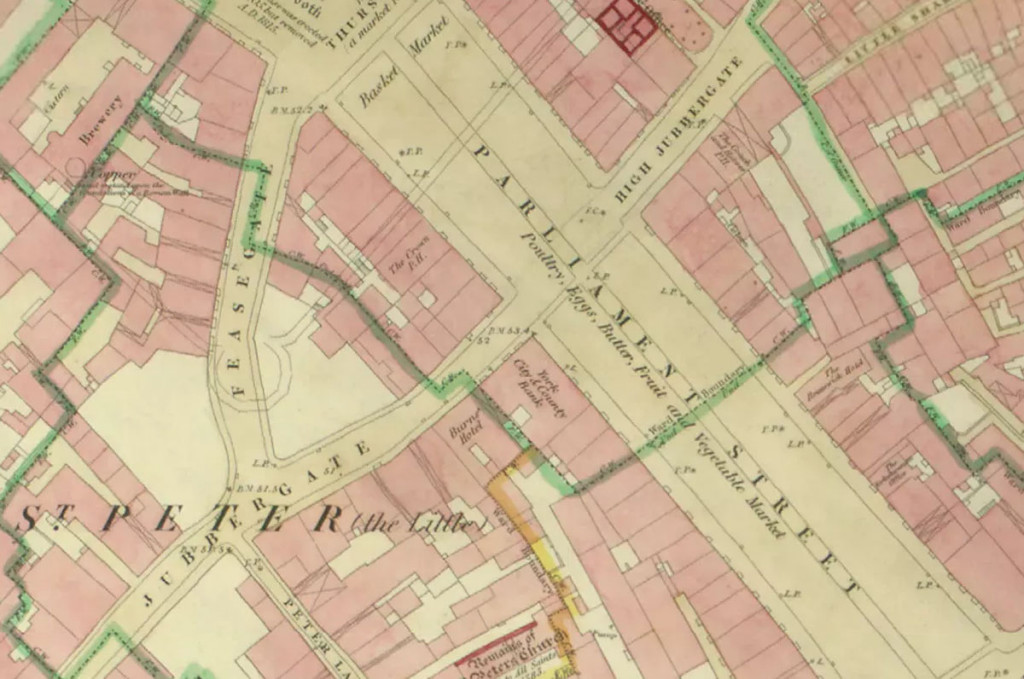 1852 map showing Jubbergate (now Market Street)