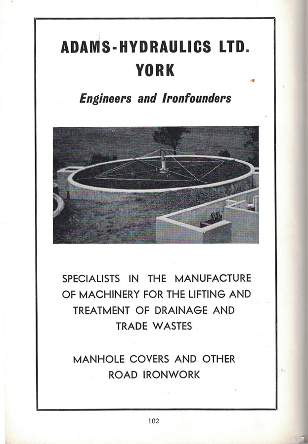 Adams Hydraulics, advert from the 1961 guide