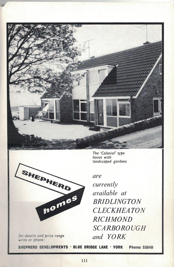 Shepherd Homes, advert from the 1961 guide
