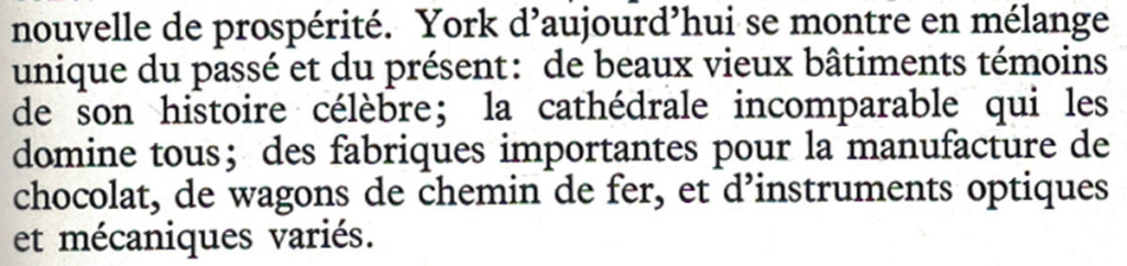 From the French section of the 1961 guide to York
