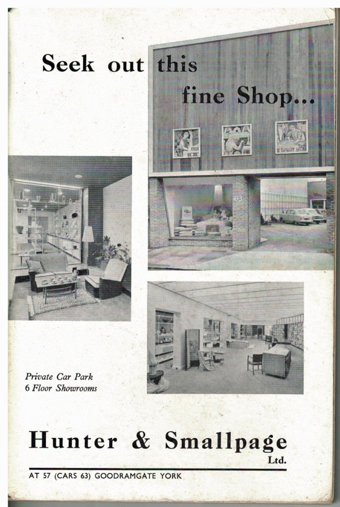 Hunter and Smallpage, Goodramgate, advert from the 1961 guide