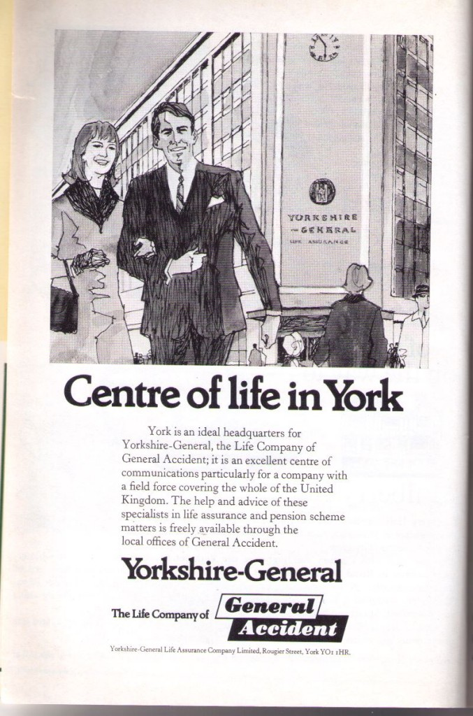 1970s advert, drawing of couple arm in arm in front of building
