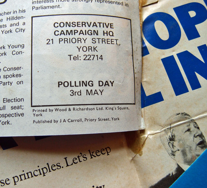 Conservative Party election leaflet, 1979, York