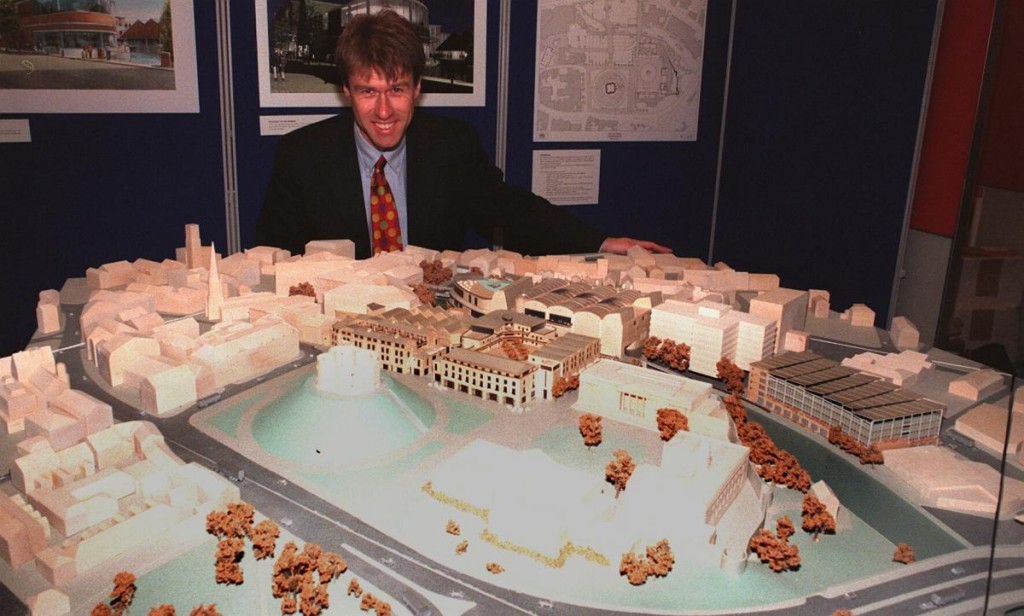 Model of proposed building alongside Clifford's Tower