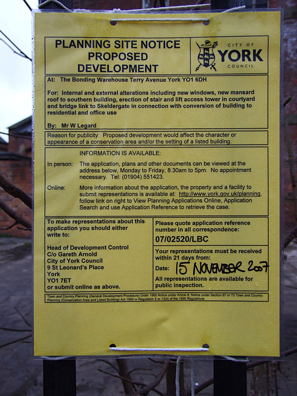 Planning application, site notice
