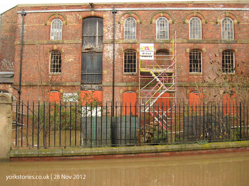 Building surrounded by floodwater