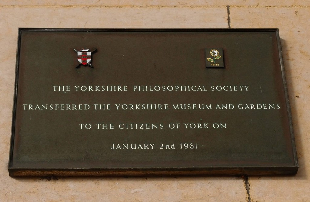 Plaque on Yorkshire Museum, Museum Gardens, 26 April 2016