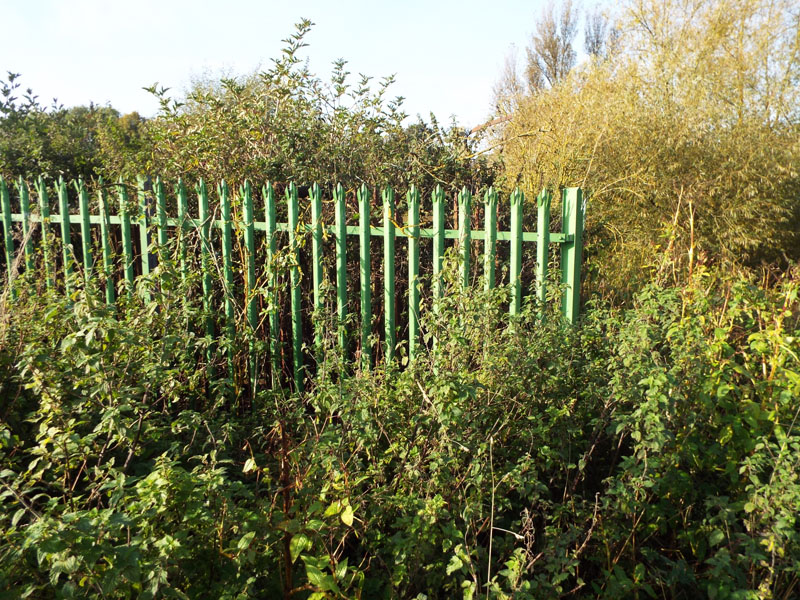 Steel fencing near riverside
