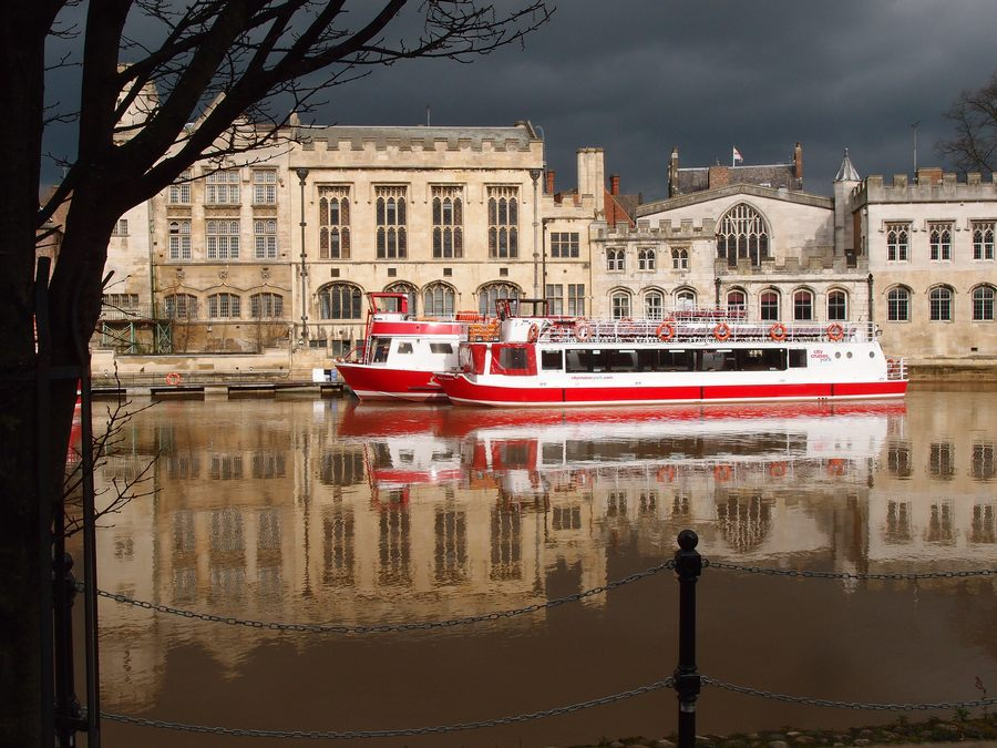 Guildhall and river boats under a moody sky, 13 March 2018