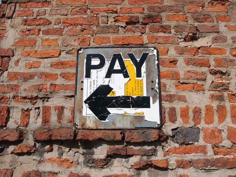 Car park sign, 'PAY', York, May 2015