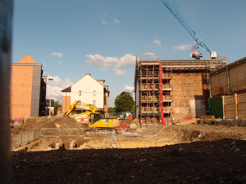 Looking across to new student blocks