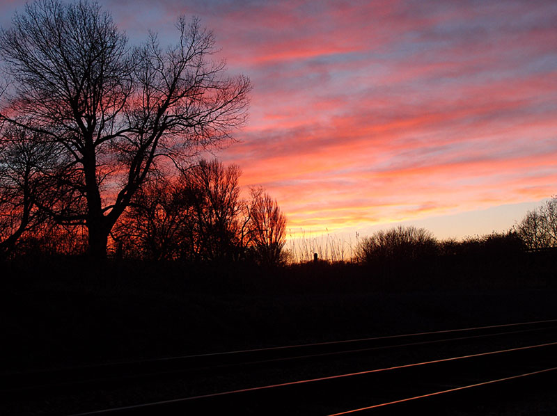 Sunset over railway lines, near Poppleton, 2 Dec 2014