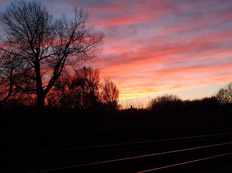 Sunset over railway lines, near Poppleton, 2 Dec 2014