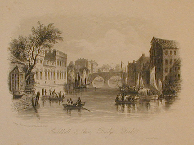 Engraving, river scene, with riverside buildings, boats