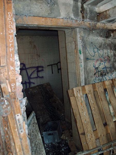 Derelict toilet: doorway