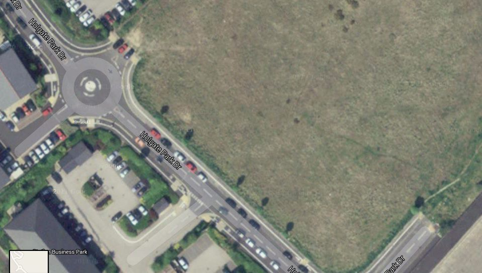 Aerial view of roads at Holgate Park, Holgate Road