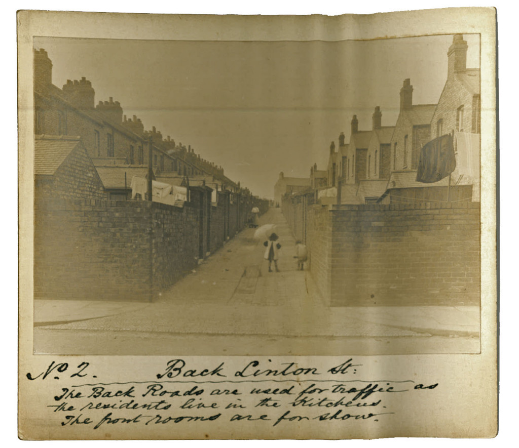 Faded photograph of back alleyway