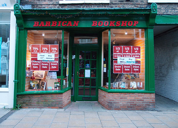 Bookshop, shop front, with closing down sale signs