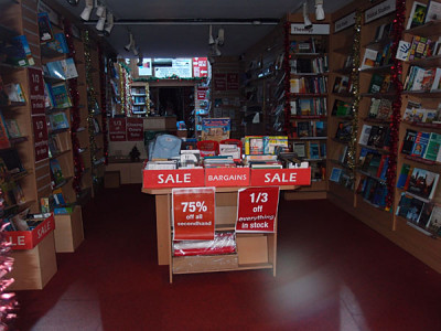 Bookshop interior with closing down sale signs