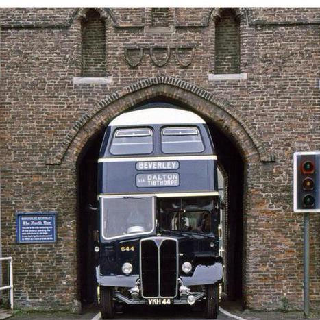 A specially shaped bus passed through Beverley's North Bar. (Source)