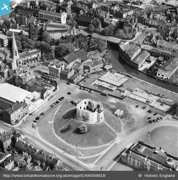 Aerial photo of Clifford's Tower and the surrounding area, 1953