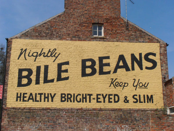 Repainted wall advert for Bile Beans