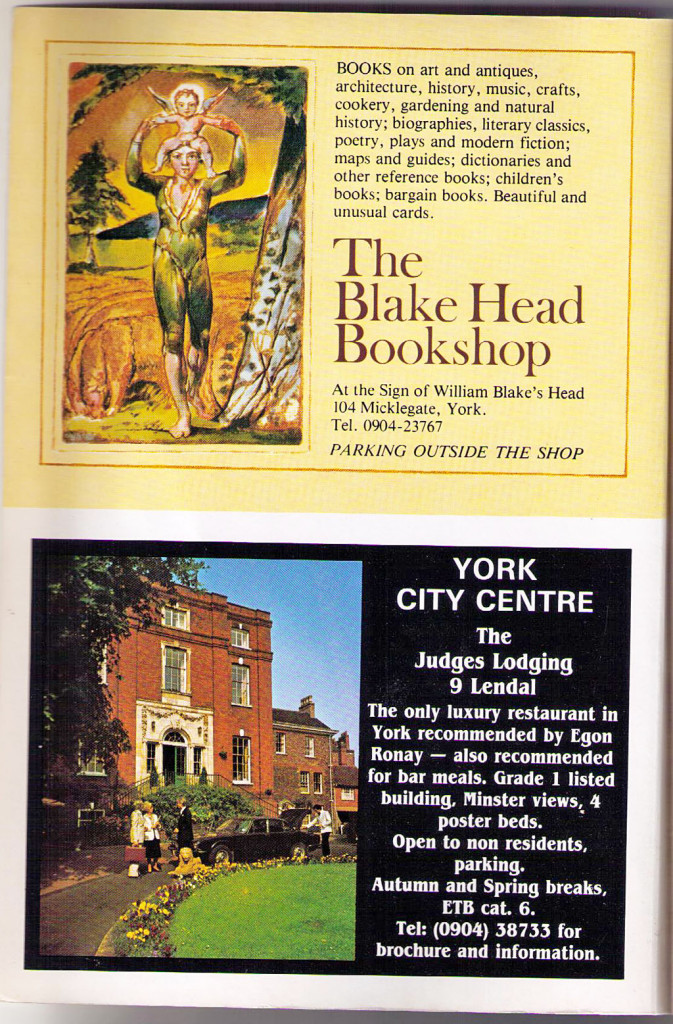 Early 1980s ads: Blake Head Bookshop and the Judges Lodging