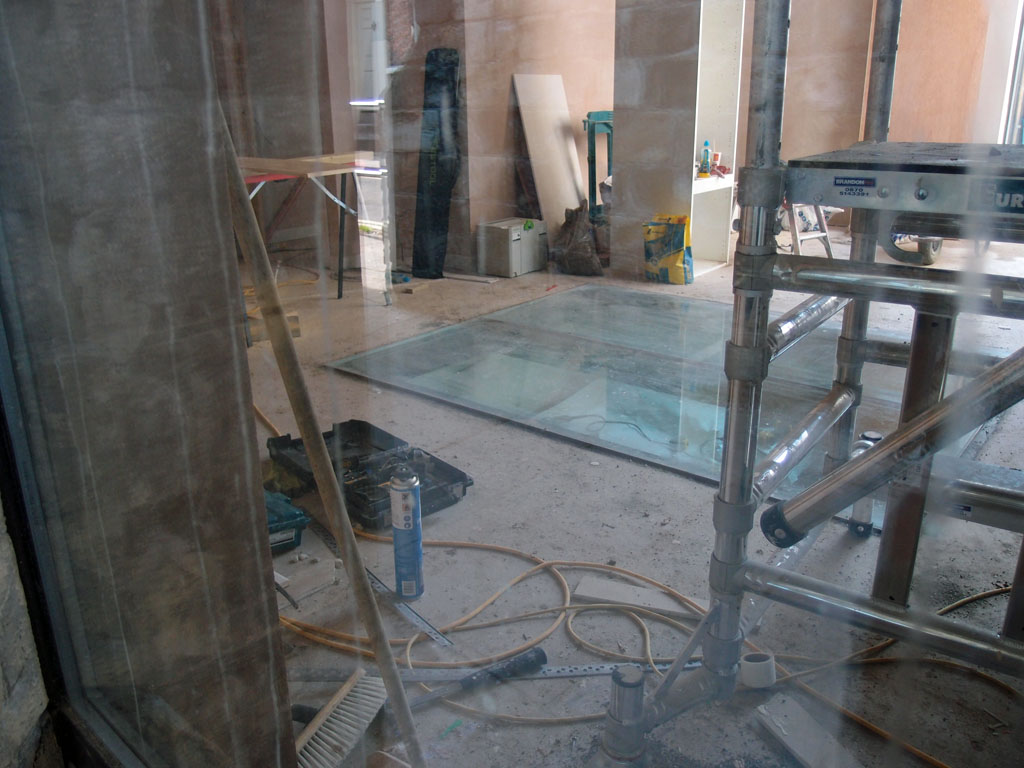 Interior showing tools and building work in progress