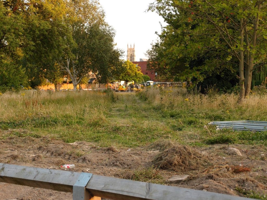 Across the Bootham Park Court site, 12 Aug 2015