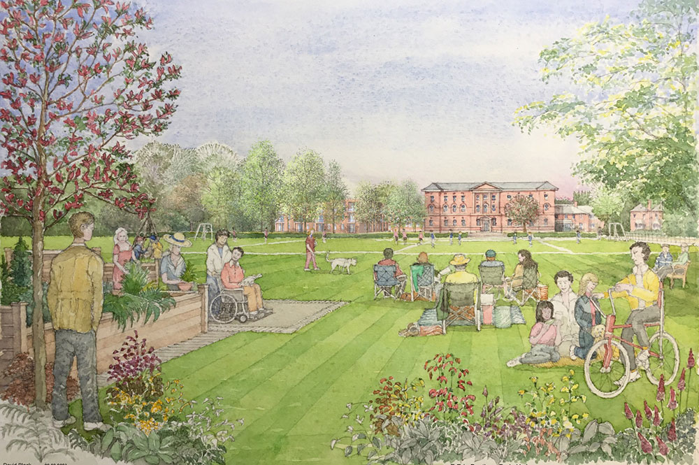 Illustration shows all types of people enjoying a picnic area