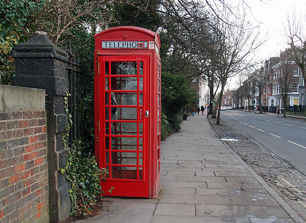 Red phonebox with new door