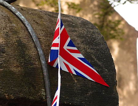 Churchill Hotel gatepost and bunting