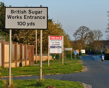 British Sugar site, sign, Millfield Lane, 15 April 2014