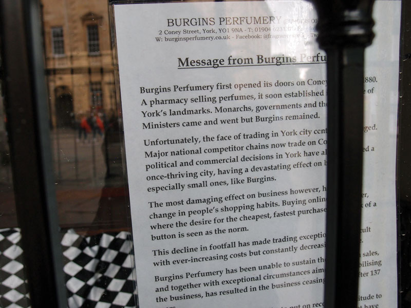 Sign in shop window