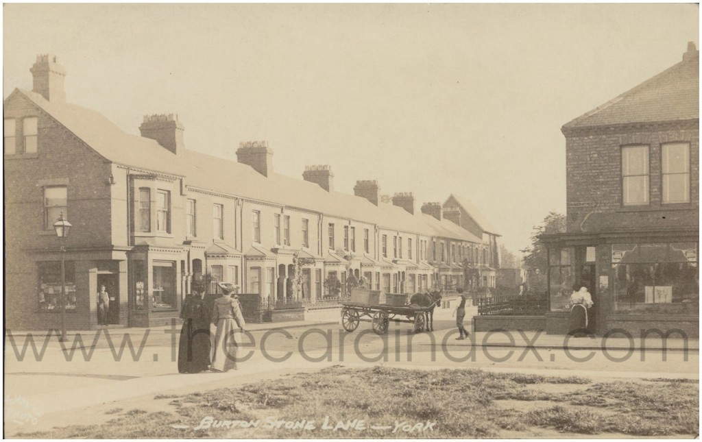 Burton Stone Lane, from the corner with Cromer Street, 1905 (Photo: William Hayes, from thecardindex.com)