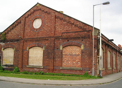 Victorian railway workshop building