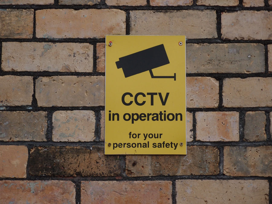 CCTV camera sign, by the art gallery, 21 Feb 2018