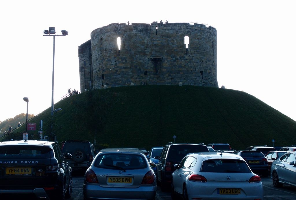 Clifford's Tower from the car park, 25 Oct 2016, late afternoon