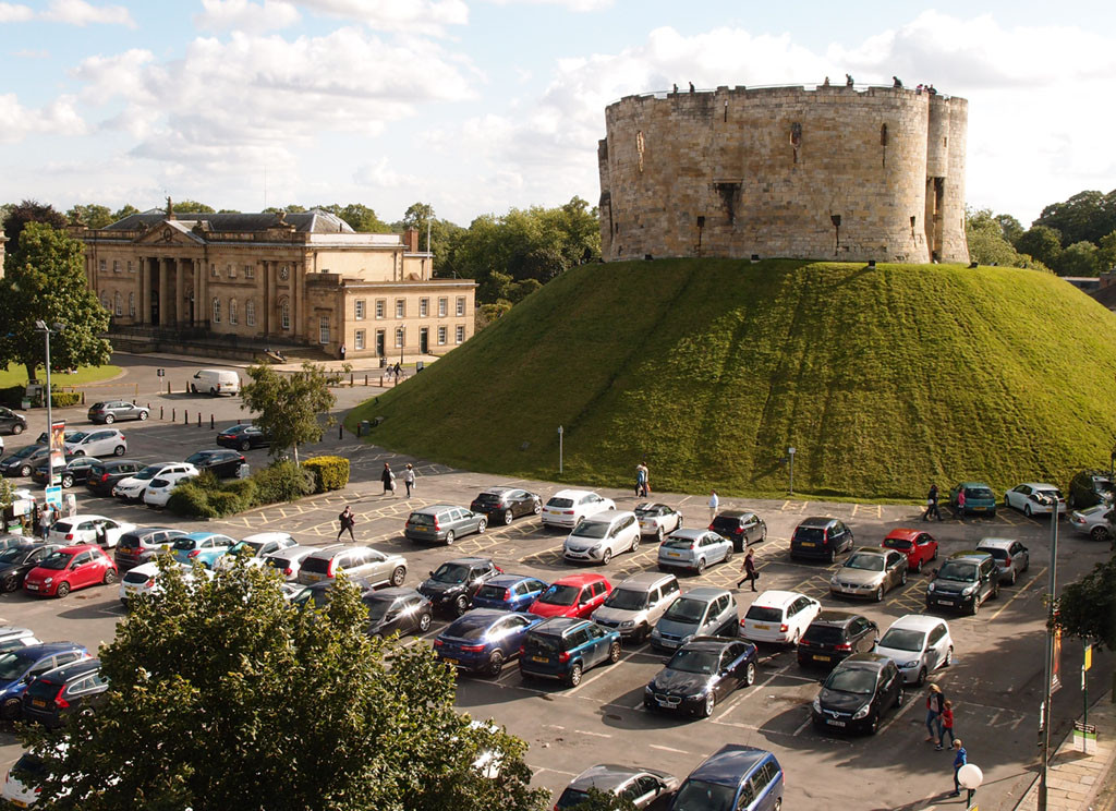 Clifford's Tower and its car park ... August 2017