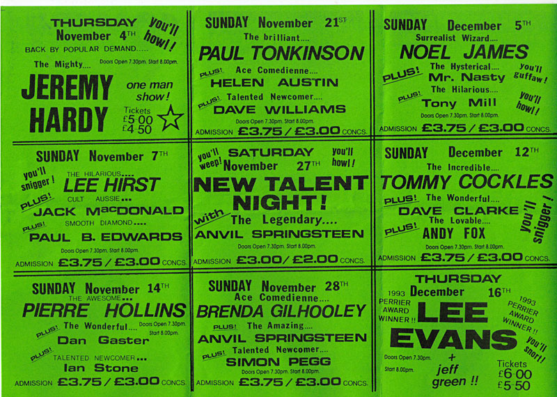 Leaflet, comedy gigs