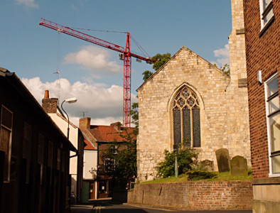 Church and crane