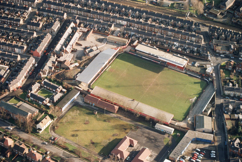 Aerial view of the barracks site alongside Bootham Crescent football ground, 2000 (City of York Council, archives)