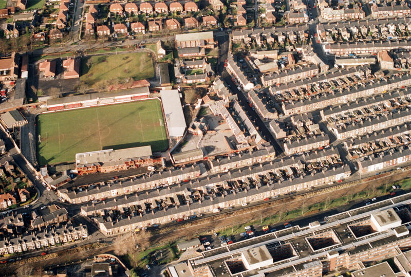 Aerial view of the Bootham Crescent football ground and adjacent barracks site, 2000 (City of York Council, archives)