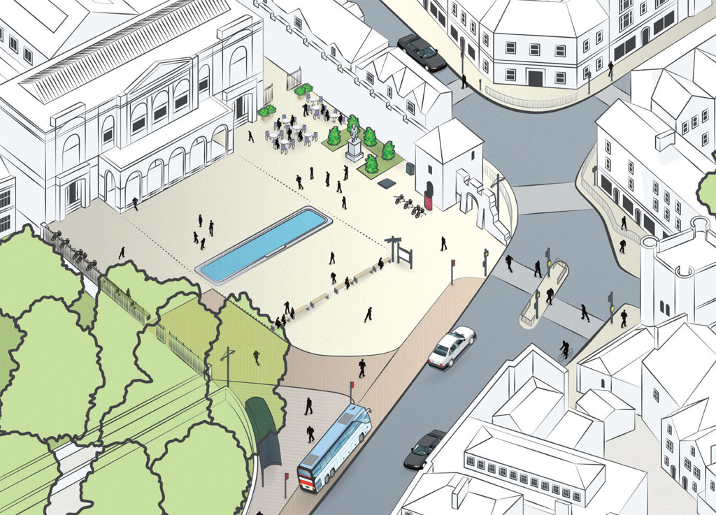 Drawing of remodelled city square
